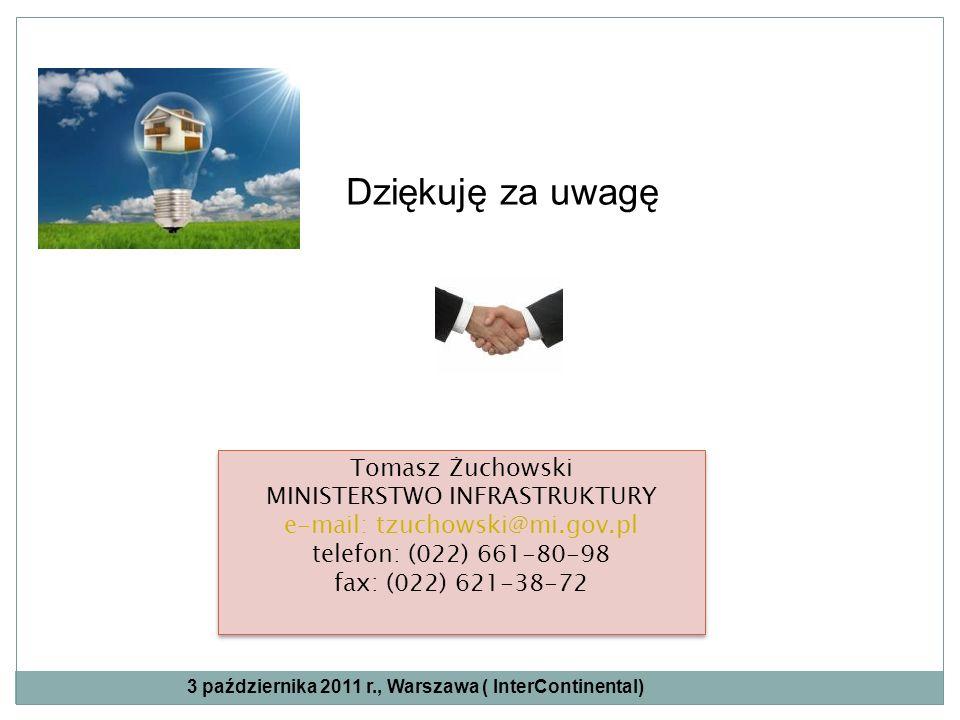 Dziękuję za uwagę Tomasz Żuchowski MINISTERSTWO INFRASTRUKTURY