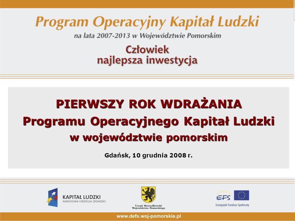 PIERWSZY ROK WDRAŻANIA Programu Operacyjnego Kapitał Ludzki w województwie pomorskim Gdańsk, 10 grudnia 2008 r.