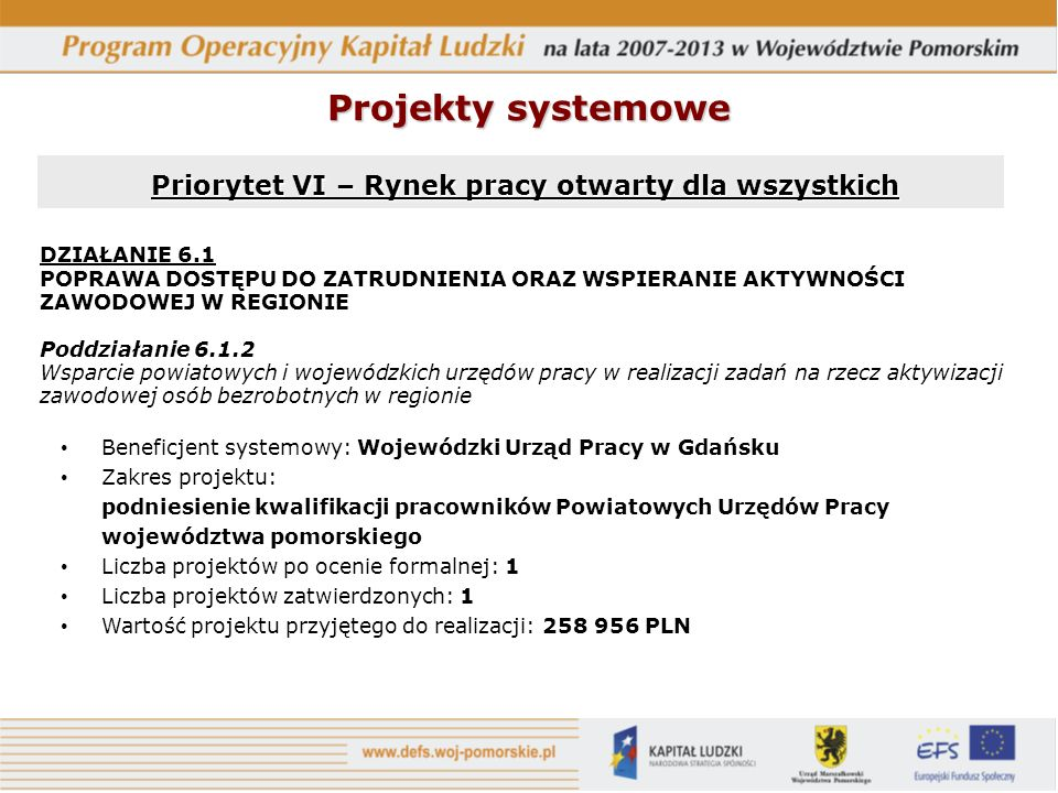 Priorytet VI – Rynek pracy otwarty dla wszystkich