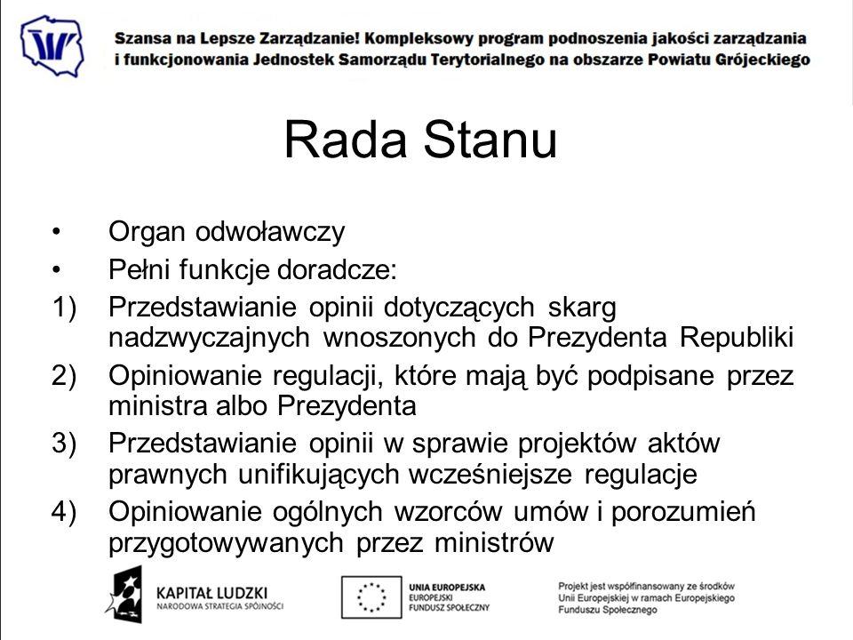 Rada Stanu Organ odwoławczy Pełni funkcje doradcze: