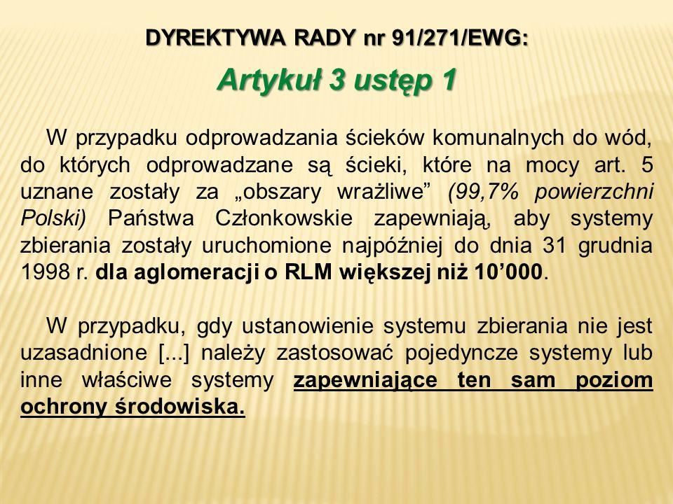 DYREKTYWA RADY nr 91/271/EWG: