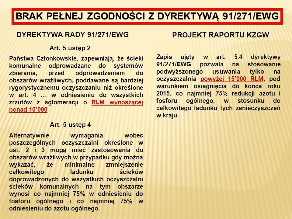 BRAK PEŁNEJ ZGODNOŚCI Z DYREKTYWĄ 91/271/EWG