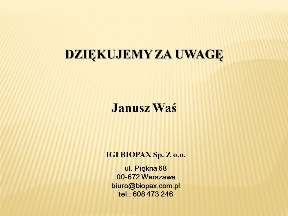DZIĘKUJEMY ZA UWAGĘ Janusz Waś