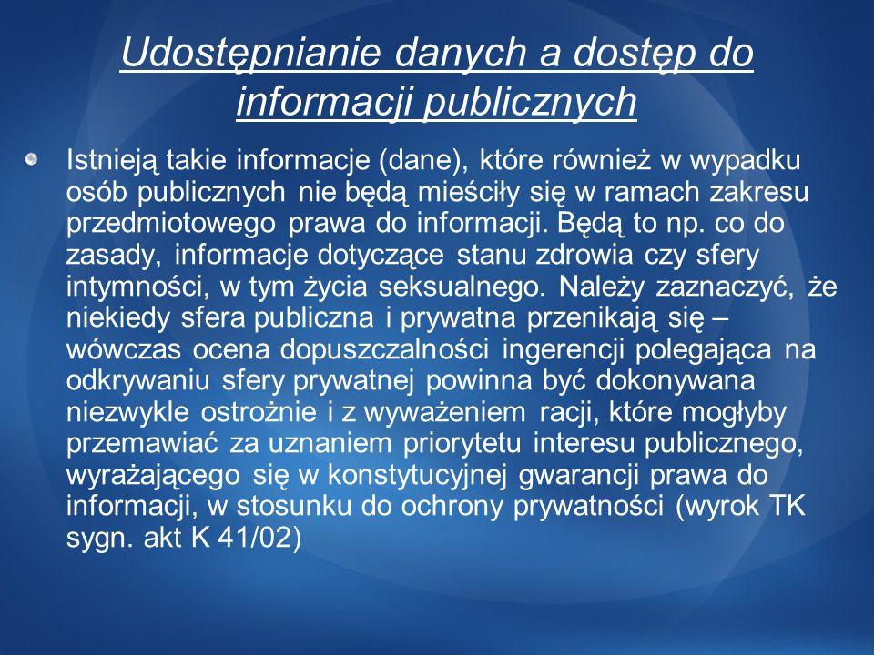 Udostępnianie danych a dostęp do informacji publicznych