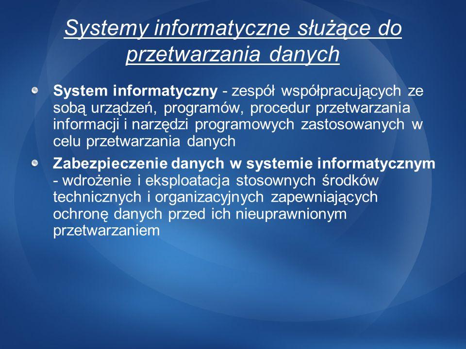 Systemy informatyczne służące do przetwarzania danych
