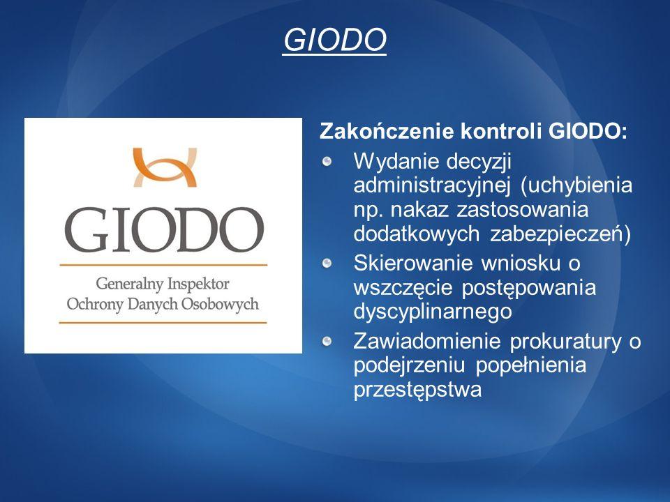 GIODO Zakończenie kontroli GIODO: