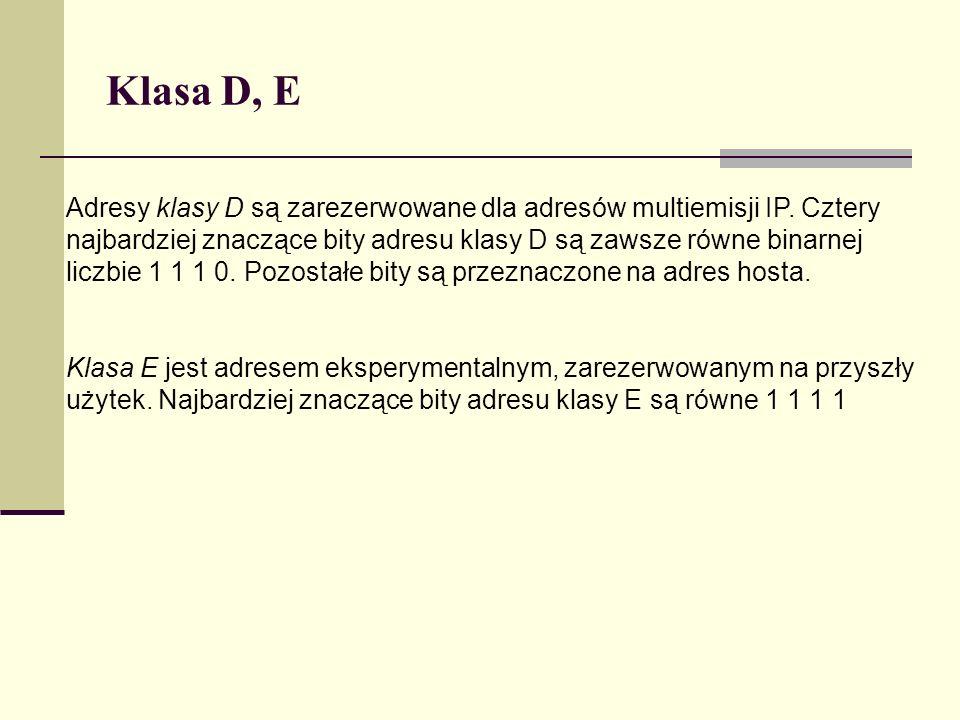 Klasa D, E
