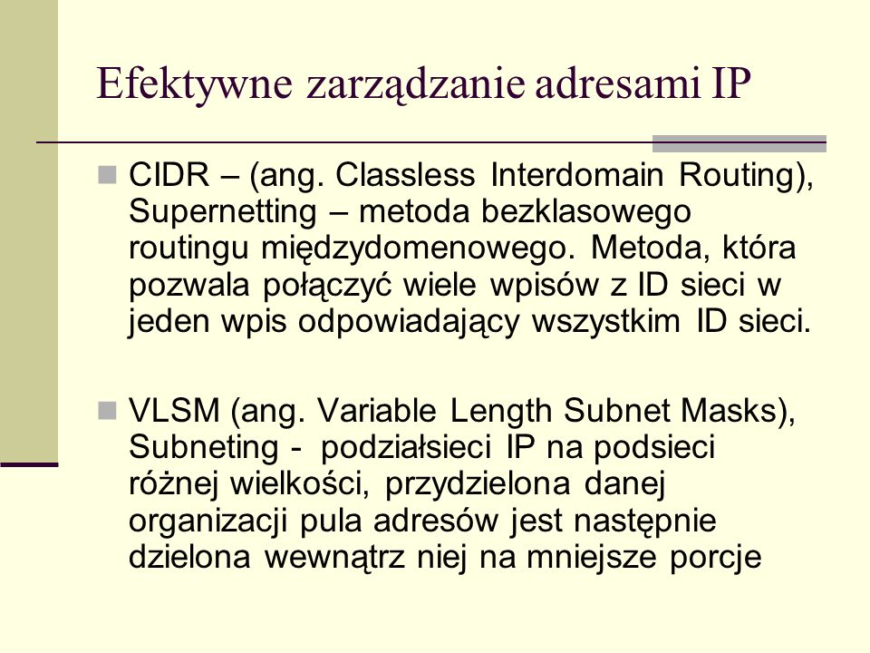 Efektywne zarządzanie adresami IP