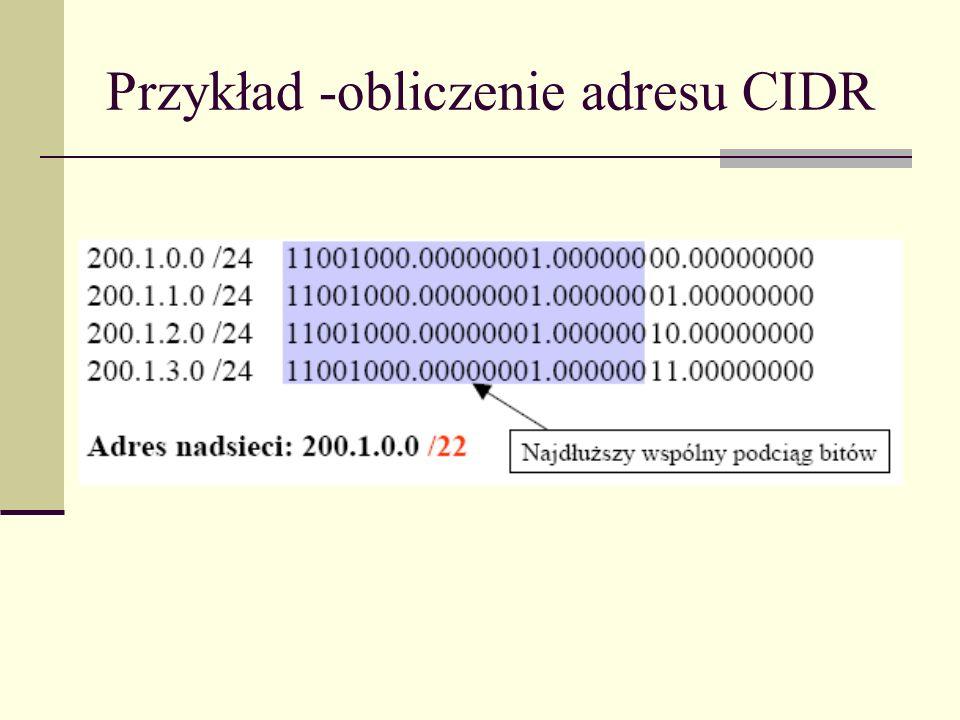Przykład -obliczenie adresu CIDR