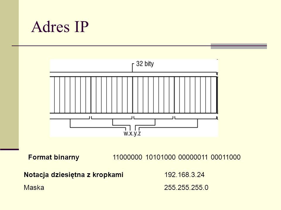Adres IP Format binarny 11000000 10101000 00000011 00011000