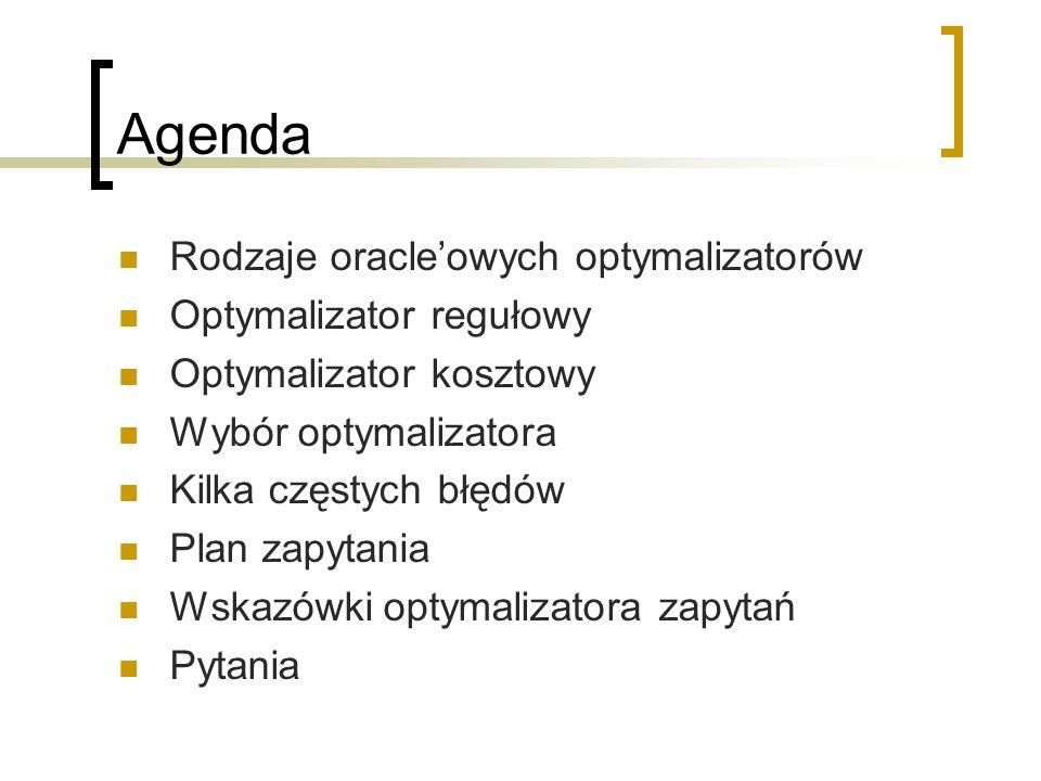 Agenda Rodzaje oracle'owych optymalizatorów Optymalizator regułowy