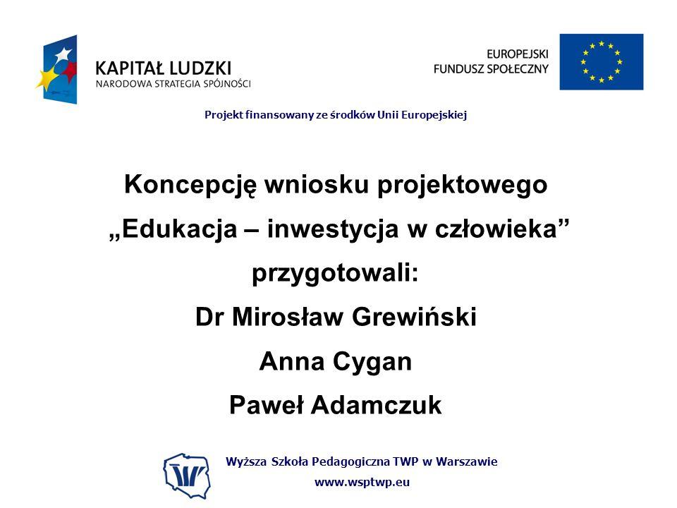 """Koncepcję wniosku projektowego """"Edukacja – inwestycja w człowieka"""