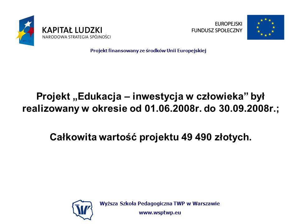 Całkowita wartość projektu 49 490 złotych.
