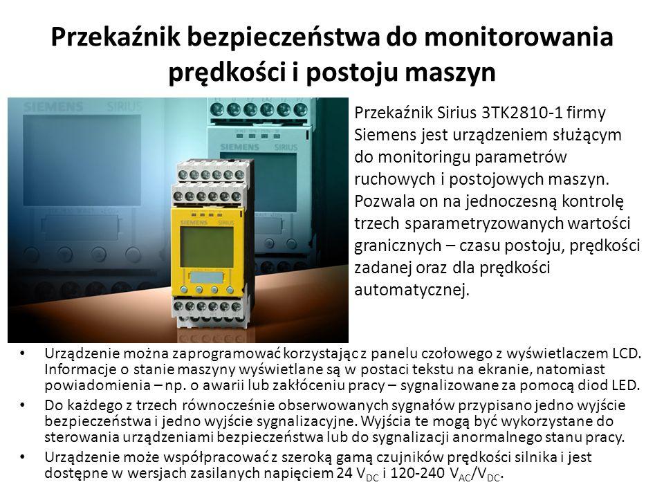 Przekaźnik bezpieczeństwa do monitorowania prędkości i postoju maszyn