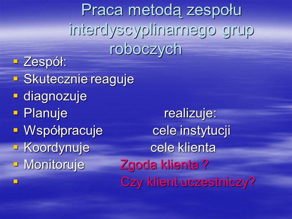 Praca metodą zespołu interdyscyplinarnego grup roboczych