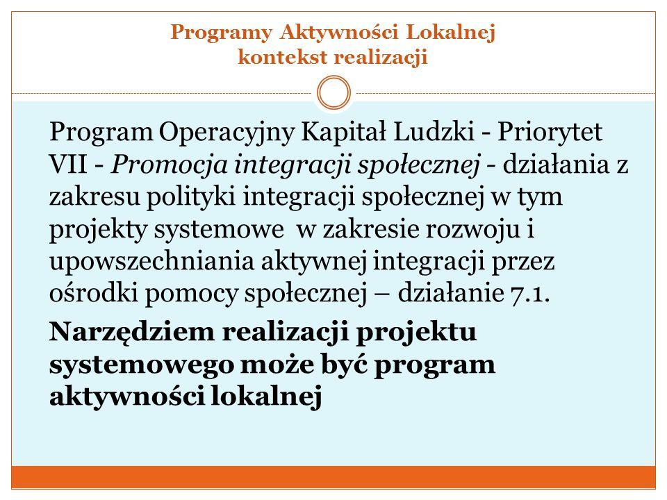 Programy Aktywności Lokalnej kontekst realizacji