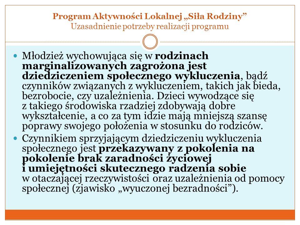 """Program Aktywności Lokalnej """"Siła Rodziny Uzasadnienie potrzeby realizacji programu"""