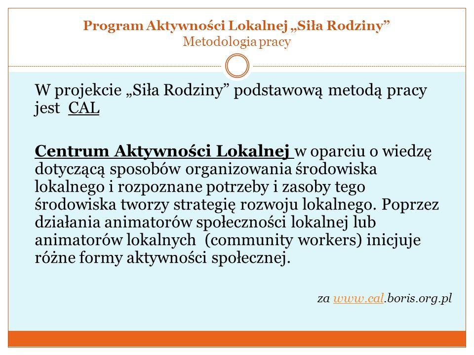 """Program Aktywności Lokalnej """"Siła Rodziny Metodologia pracy"""