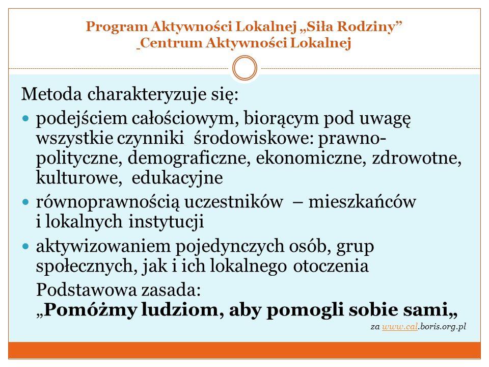 """Program Aktywności Lokalnej """"Siła Rodziny Centrum Aktywności Lokalnej"""