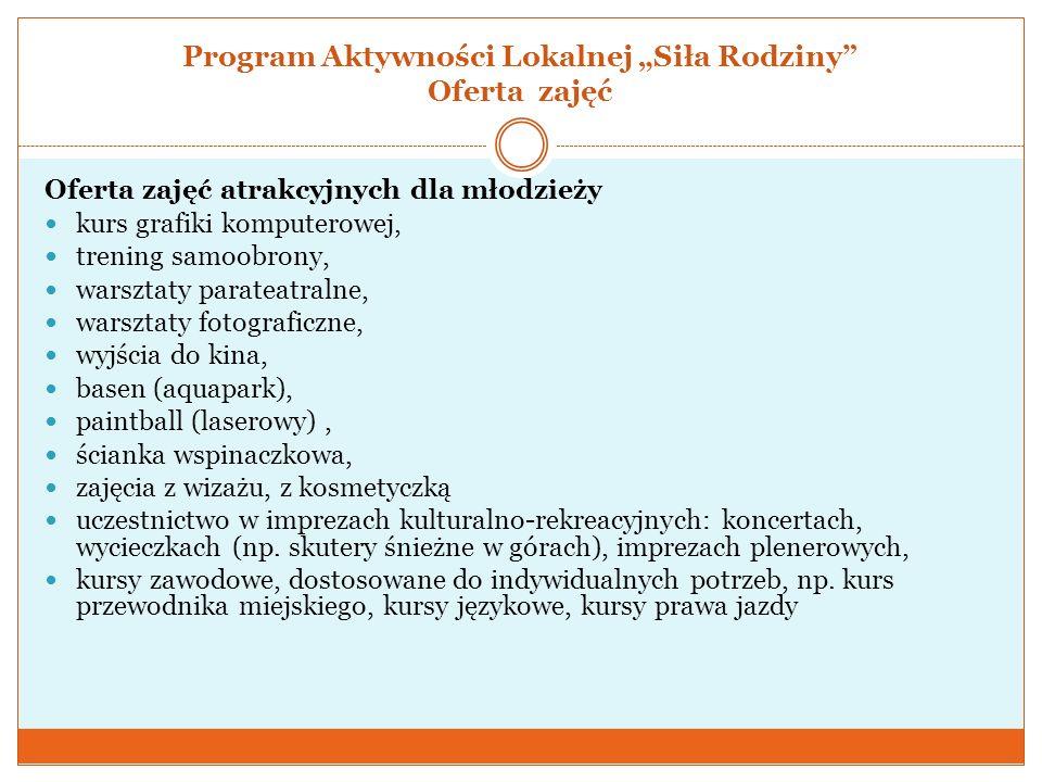 """Program Aktywności Lokalnej """"Siła Rodziny Oferta zajęć"""