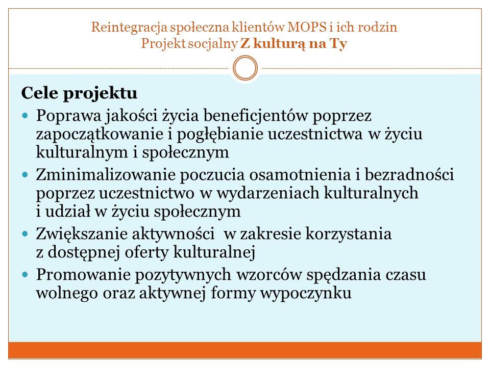 Reintegracja społeczna klientów MOPS i ich rodzin Projekt socjalny Z kulturą na Ty