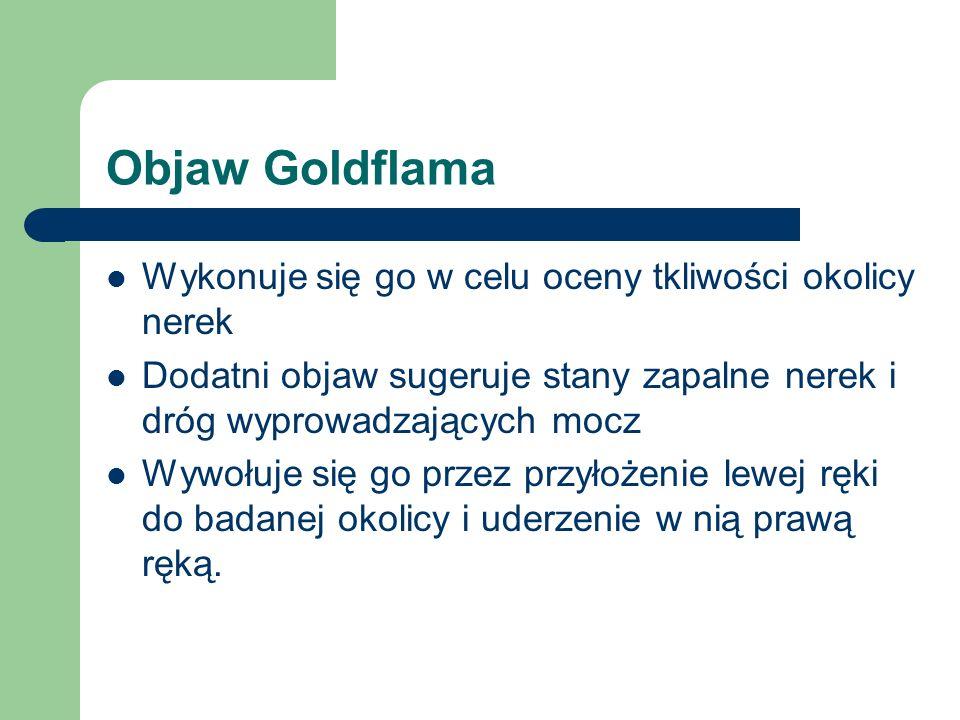 Objaw Goldflama Wykonuje się go w celu oceny tkliwości okolicy nerek
