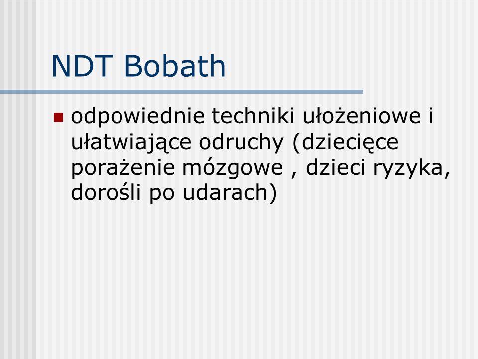 NDT Bobath odpowiednie techniki ułożeniowe i ułatwiające odruchy (dziecięce porażenie mózgowe , dzieci ryzyka, dorośli po udarach)