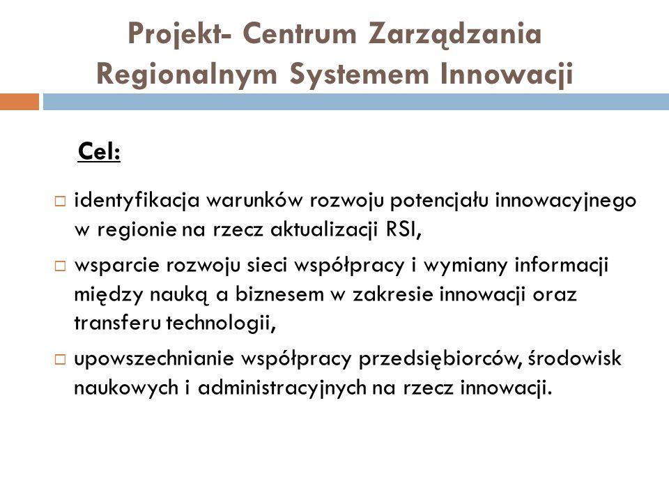 Projekt- Centrum Zarządzania Regionalnym Systemem Innowacji