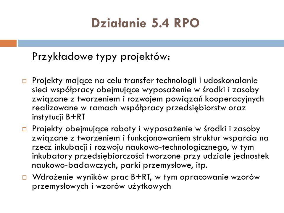 Działanie 5.4 RPO Przykładowe typy projektów: