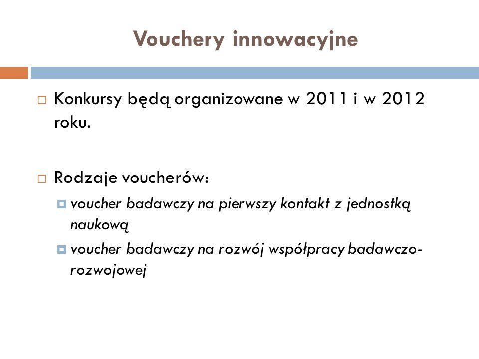 Vouchery innowacyjne Konkursy będą organizowane w 2011 i w 2012 roku.