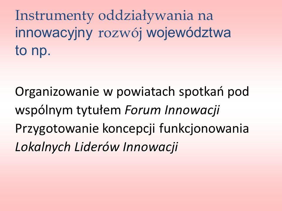 Instrumenty oddziaływania na innowacyjny rozwój województwa to np.