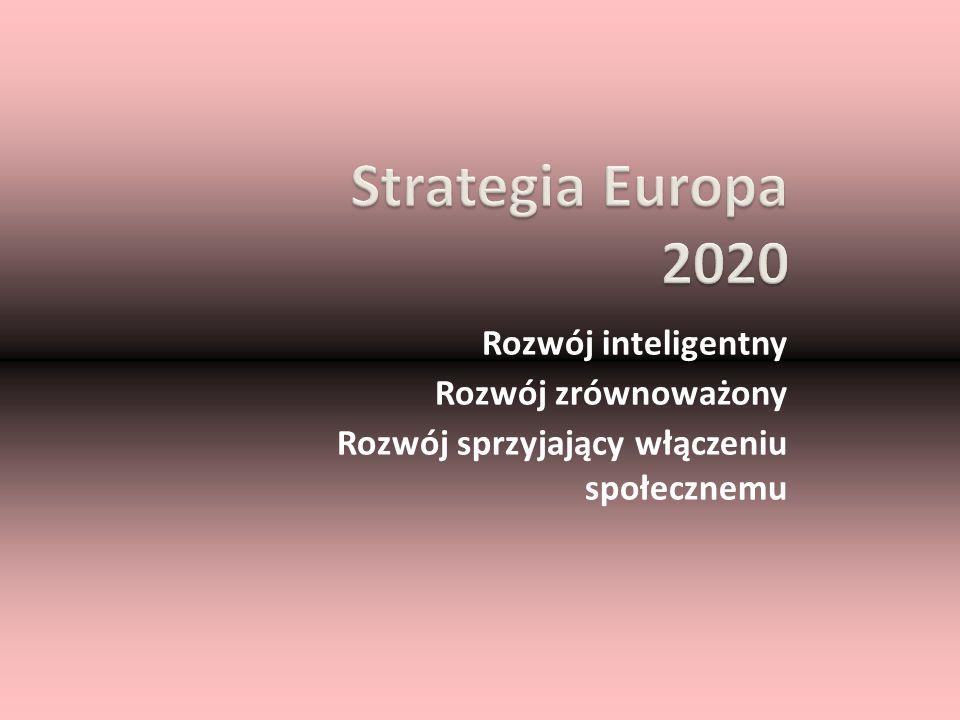 Strategia Europa 2020 Rozwój inteligentny Rozwój zrównoważony Rozwój sprzyjający włączeniu społecznemu