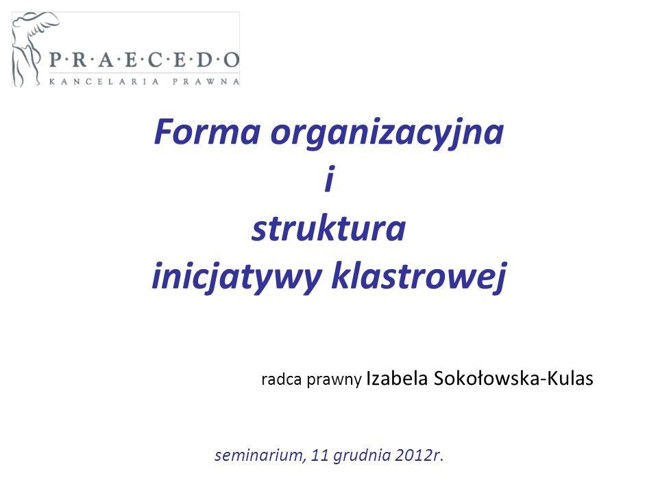 Forma organizacyjna i struktura inicjatywy klastrowej