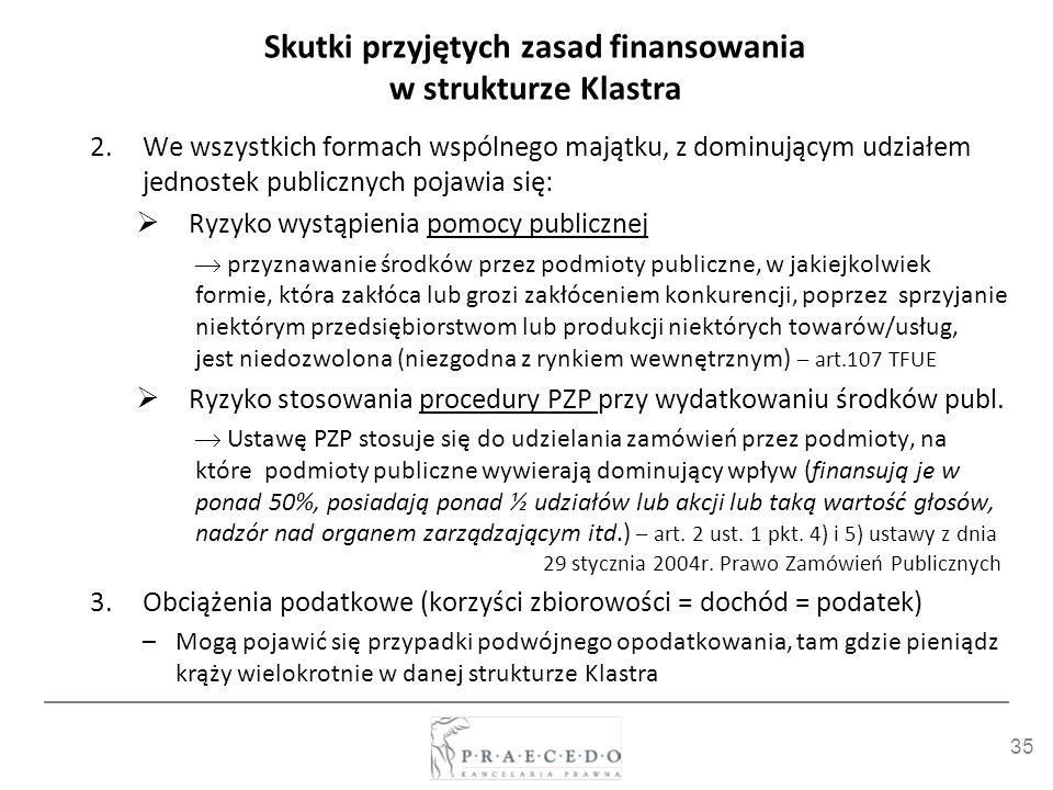 Skutki przyjętych zasad finansowania w strukturze Klastra