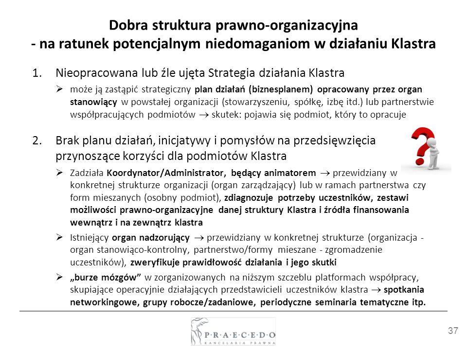 Dobra struktura prawno-organizacyjna - na ratunek potencjalnym niedomaganiom w działaniu Klastra