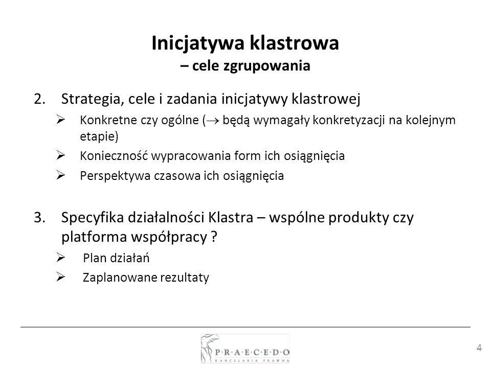 Inicjatywa klastrowa – cele zgrupowania