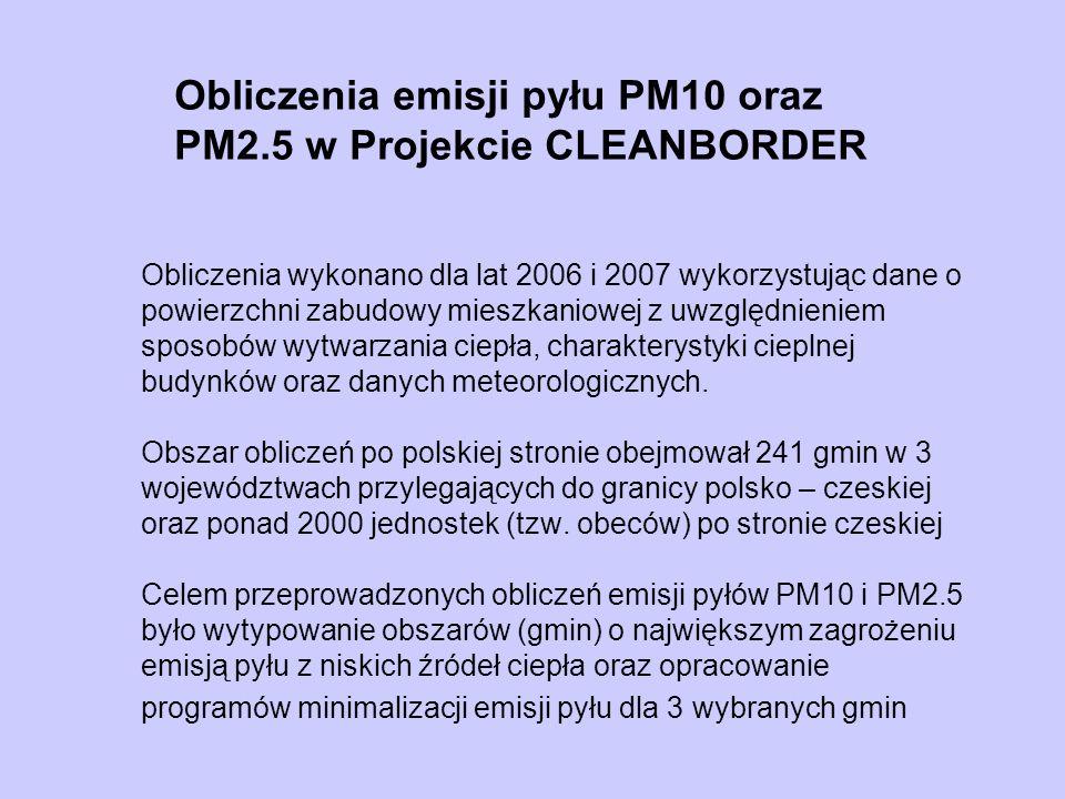 Obliczenia emisji pyłu PM10 oraz PM2.5 w Projekcie CLEANBORDER