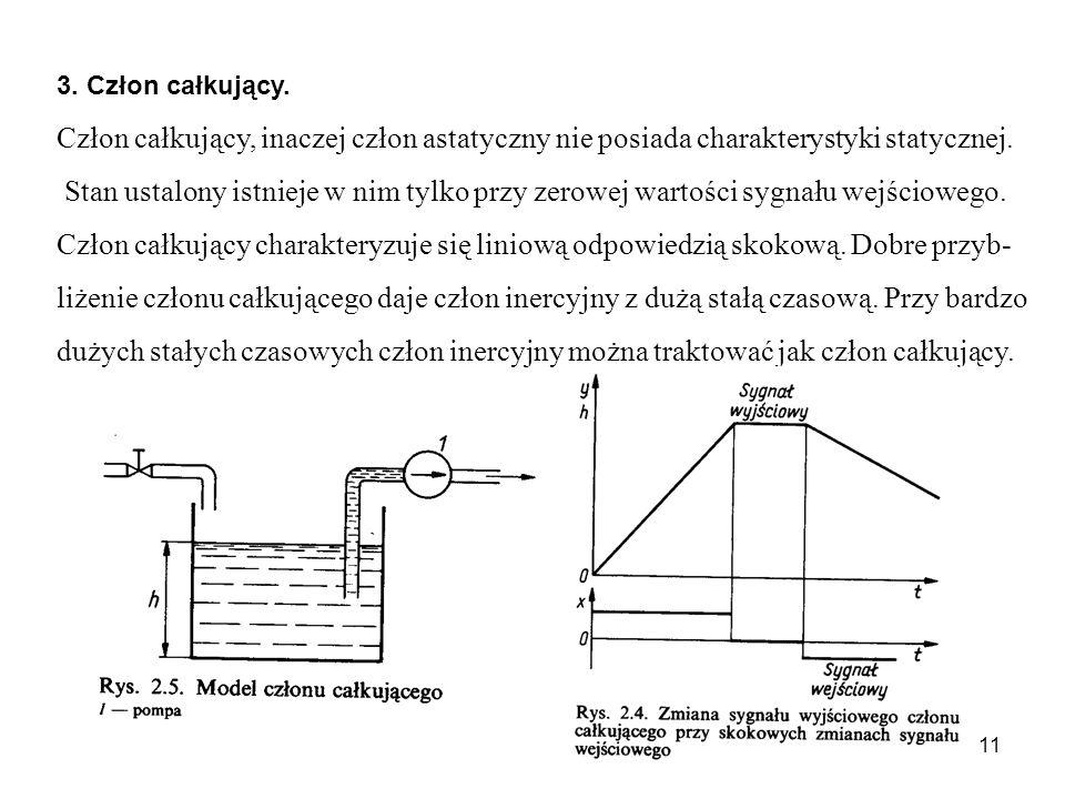 3. Człon całkujący. Człon całkujący, inaczej człon astatyczny nie posiada charakterystyki statycznej.