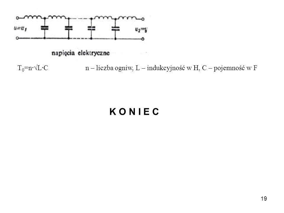 T0=n·√L·C n – liczba ogniw, L – indukcyjność w H, C – pojemność w F