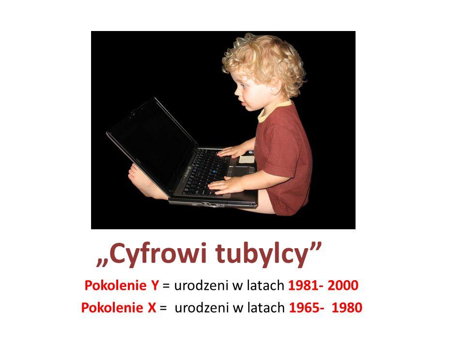 """""""Cyfrowi tubylcy Pokolenie Y = urodzeni w latach 1981- 2000"""