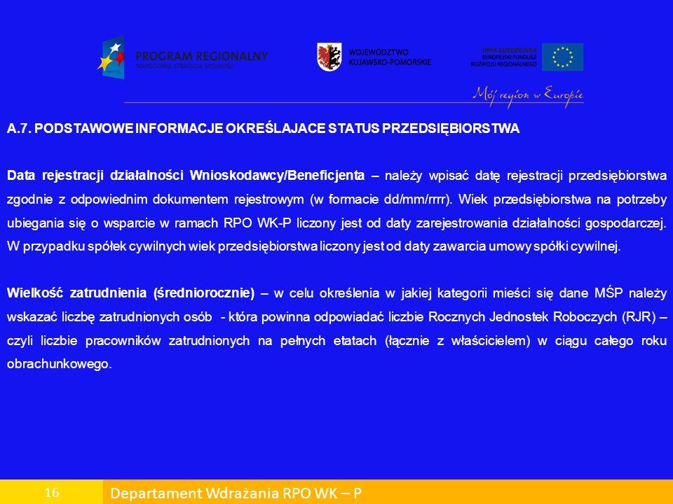 Departament Wdrażania RPO WK – P