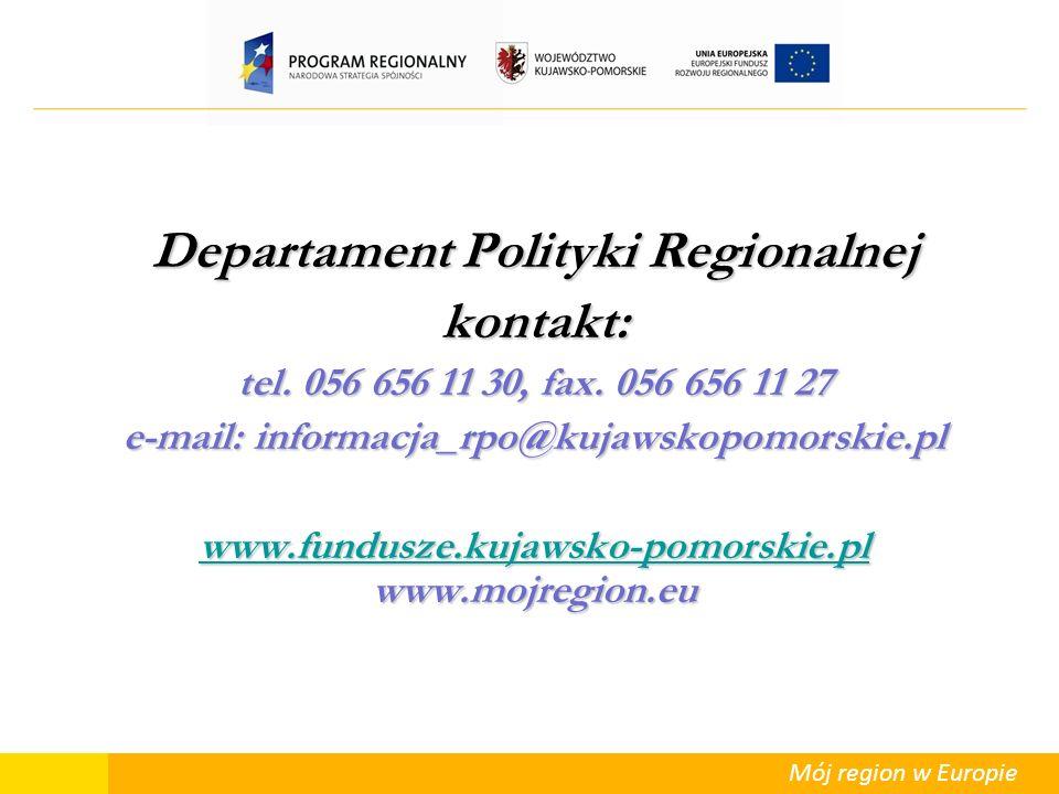 Departament Polityki Regionalnej kontakt: