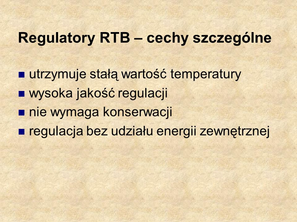 Regulatory RTB – cechy szczególne