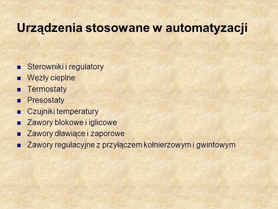 Urządzenia stosowane w automatyzacji