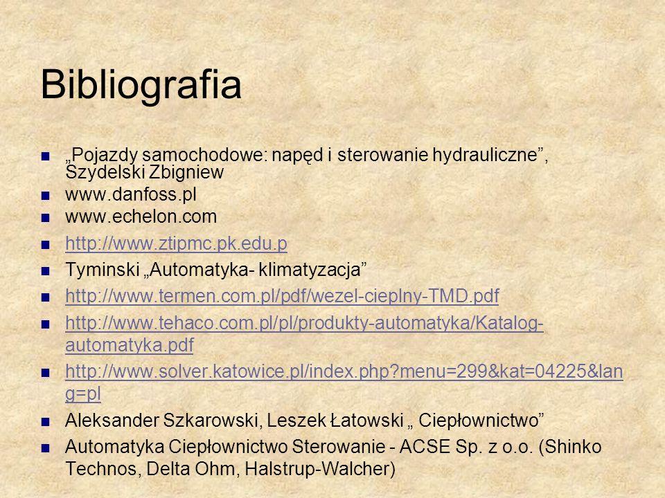 """Bibliografia""""Pojazdy samochodowe: napęd i sterowanie hydrauliczne , Szydelski Zbigniew. www.danfoss.pl."""