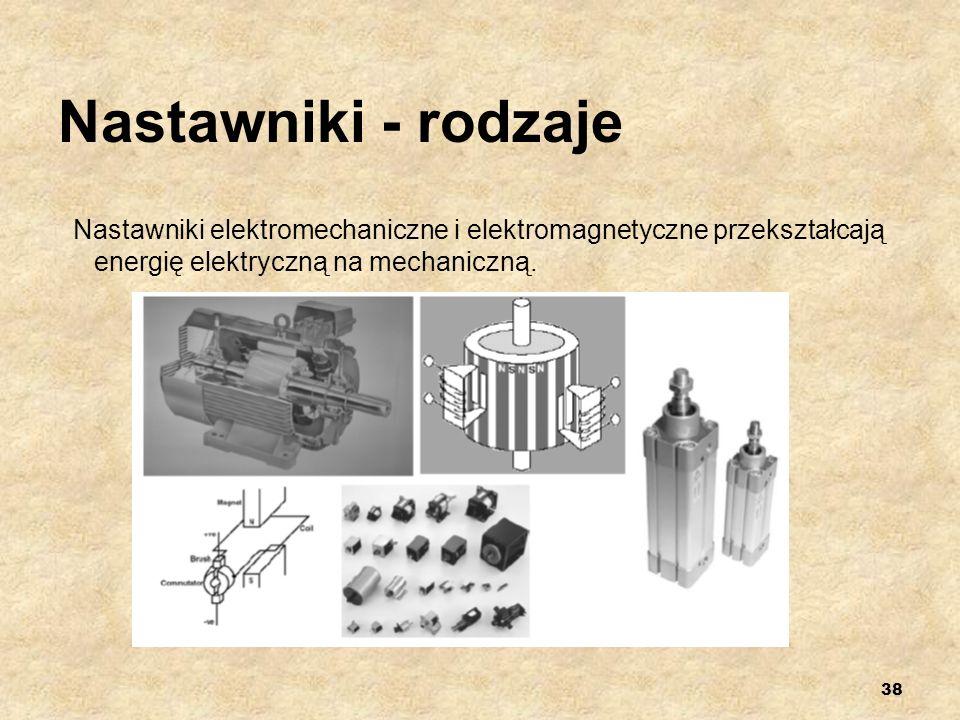 Nastawniki - rodzajeNastawniki elektromechaniczne i elektromagnetyczne przekształcają energię elektryczną na mechaniczną.