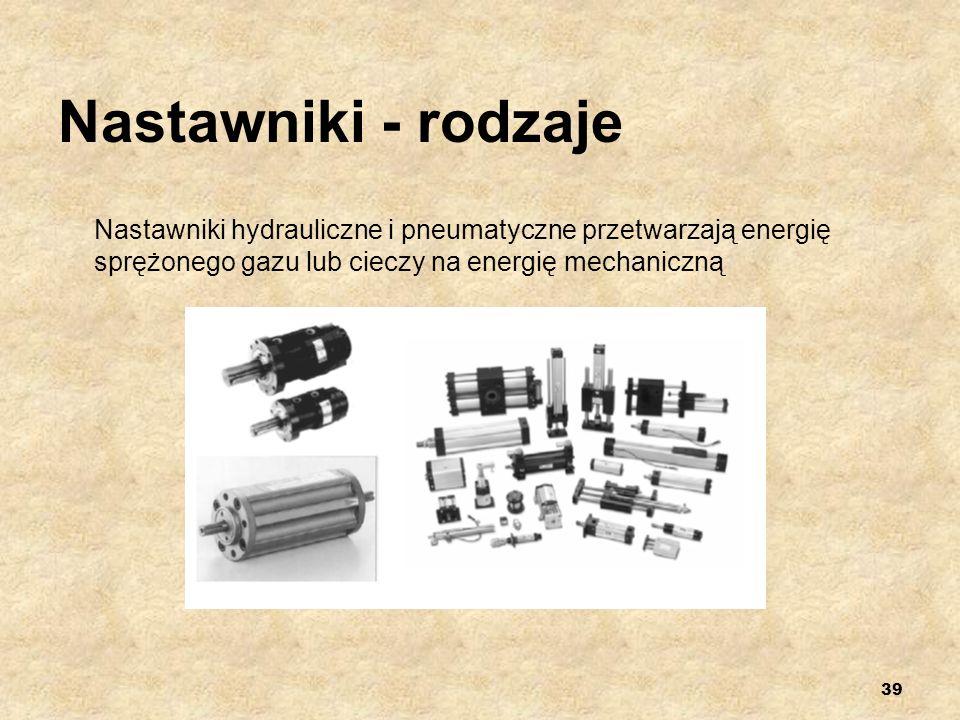 Nastawniki - rodzaje Nastawniki hydrauliczne i pneumatyczne przetwarzają energię sprężonego gazu lub cieczy na energię mechaniczną.