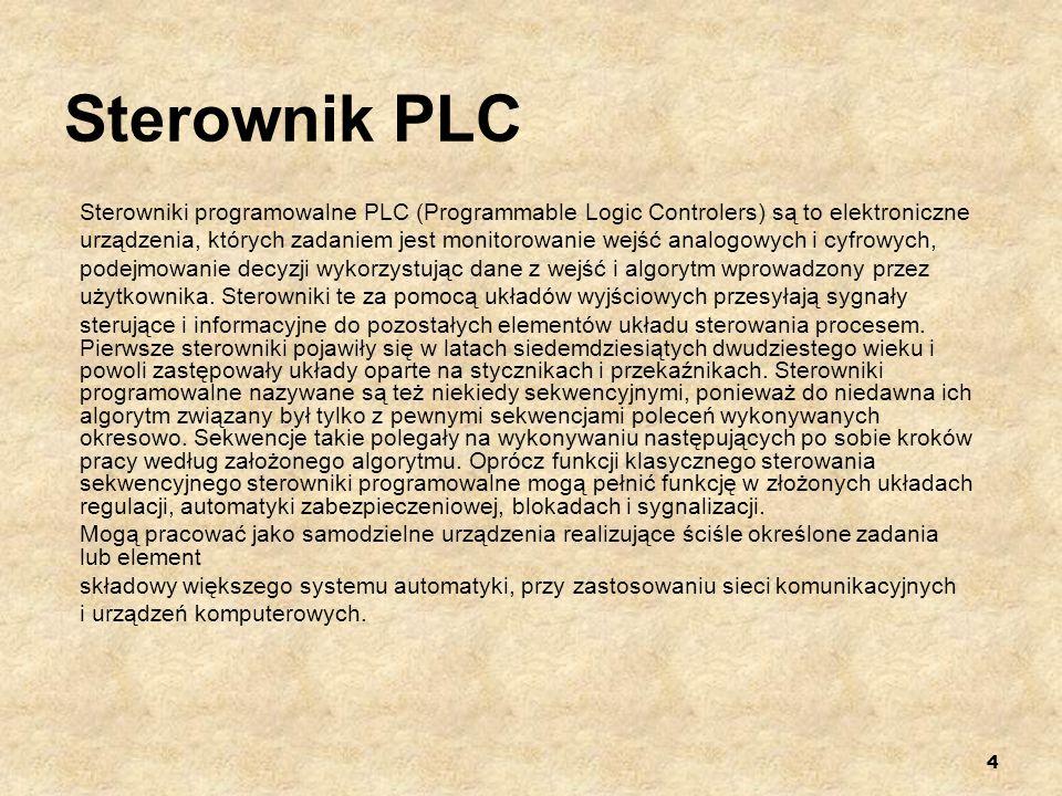 Sterownik PLC Sterowniki programowalne PLC (Programmable Logic Controlers) są to elektroniczne.