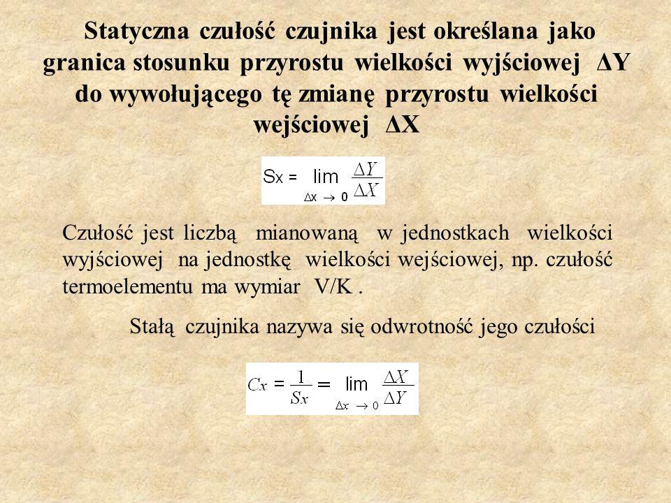 Statyczna czułość czujnika jest określana jako granica stosunku przyrostu wielkości wyjściowej ΔY do wywołującego tę zmianę przyrostu wielkości wejściowej ΔX