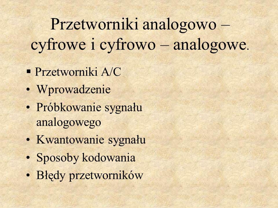 Przetworniki analogowo – cyfrowe i cyfrowo – analogowe.